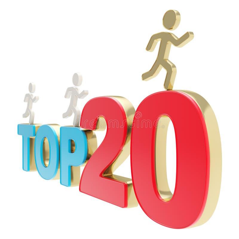 Human running symbolic figures over the words Top Twenty. Top twenty leaders illustration: group of human symbolic figures running over red and blue Top-20 stock illustration