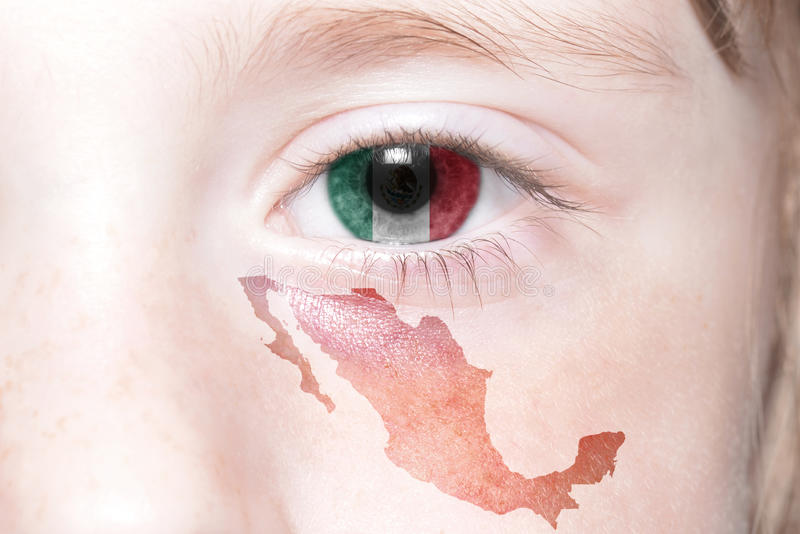 Human& x27;s face with national flag and map of mexico. Concept stock images