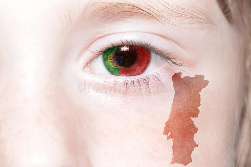Human& x27;s face with national flag and map of portugal. stock photo