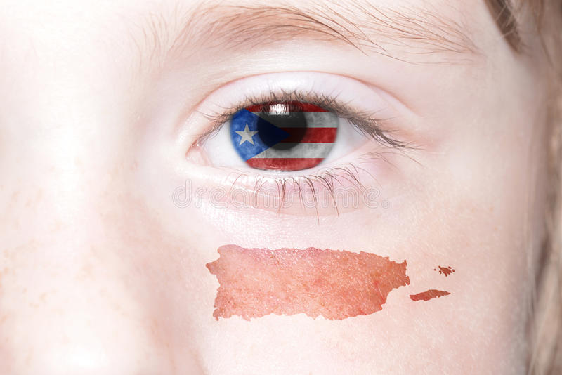 Human& x27;s face with national flag and map of puerto rico. Concept stock images