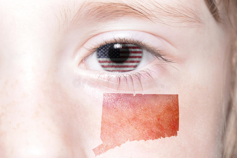 Human`s face with national flag of united states of america and connecticut state map. Concept stock photo