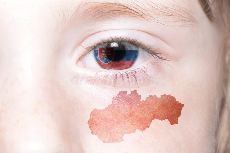 Human& x27; s-framsida med nationsflaggan och översikten av Slovakien arkivfoton