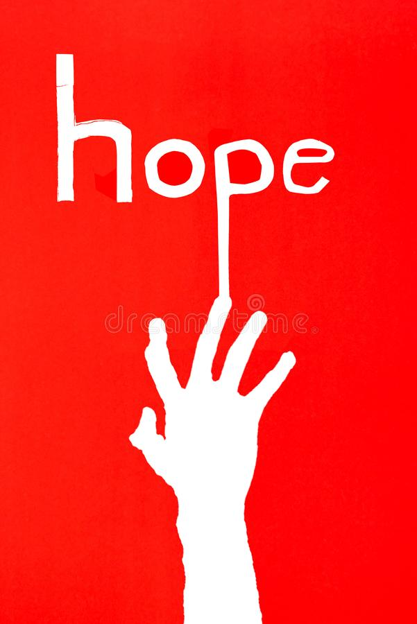 human`s hand reaching out for help on red background with letter royalty free stock images