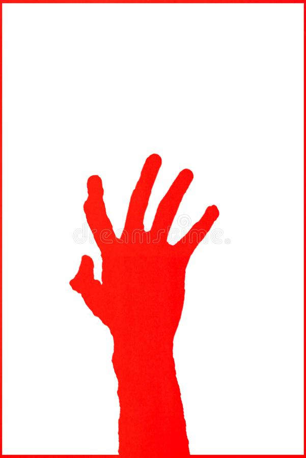 Human`s hand reaching out for help on white background royalty free stock photography