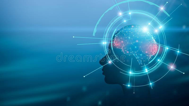 Human silhouette with brain and mind working process. Artificial intelligence concept. Human silhouette with brain and mind working process, panorama with empty royalty free stock image