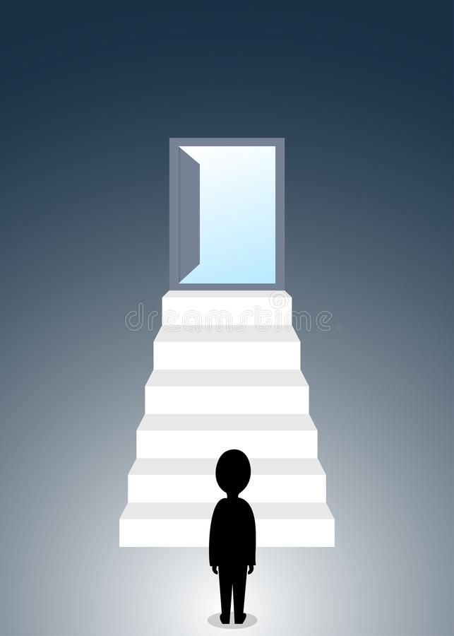 Human silhouette figure standing at the base of stairway to open door royalty free illustration