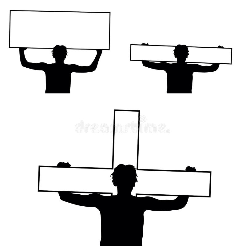 Human silhouette holding cross and board stock images