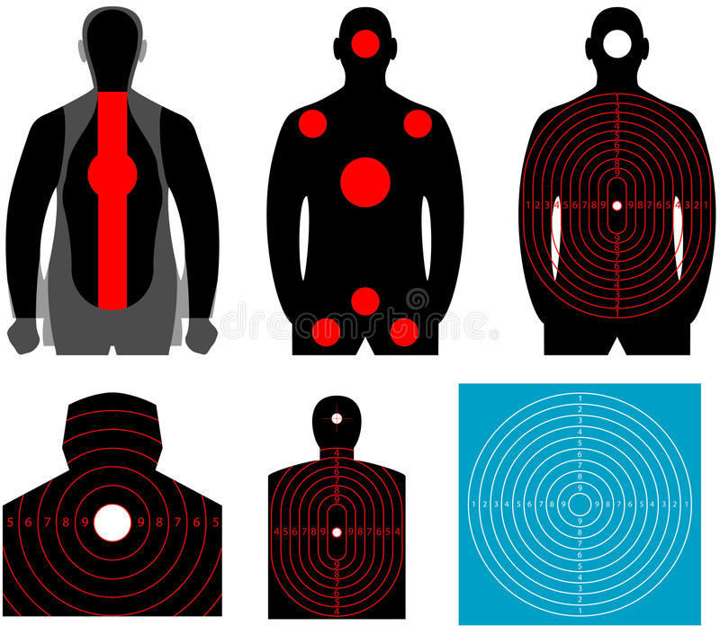 Human silhouette target. Set of human target. The target for shooting at a silhouette of a man on white background stock illustration