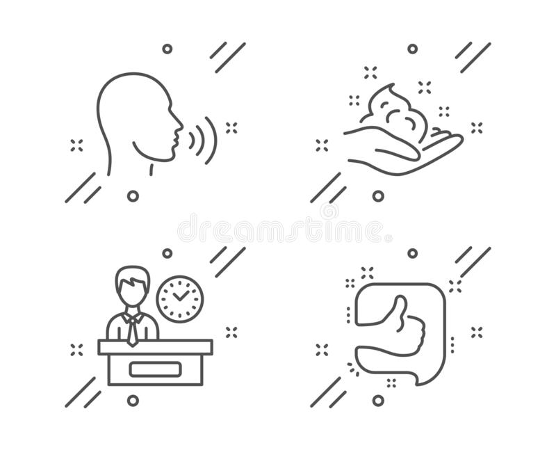 Human sing, Skin care and Presentation time icons set. Like sign. Talk, Hand cream, Report. Thumb up. Vector. Human sing, Skin care and Presentation time line vector illustration