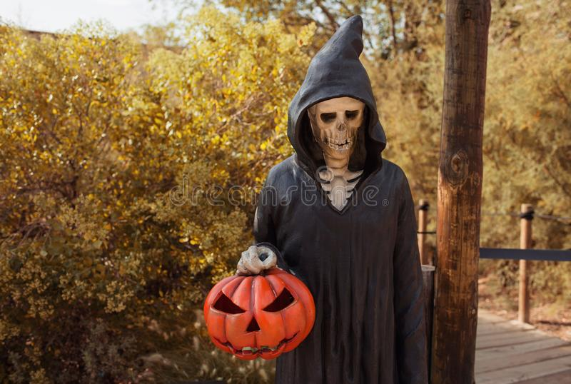 A human skeleton in a black costume of grim reaper with an orange lantern pumpkin in a hand. Happy halloween concept and street. Horror  decorations stock images