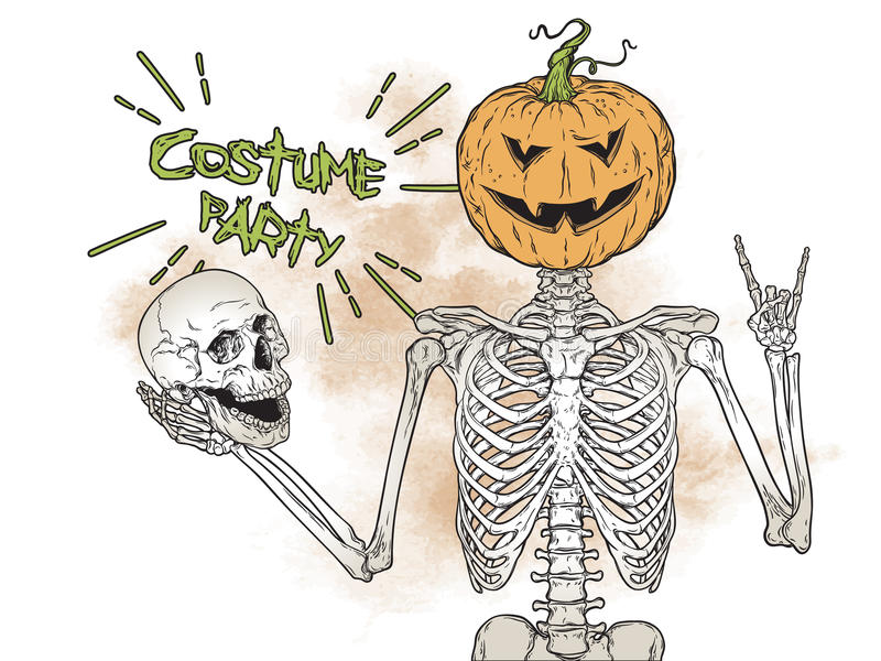 Human skeleton with halloween pumpkin instead of head posing over grunge background vector illustration. Halloween costum vector illustration