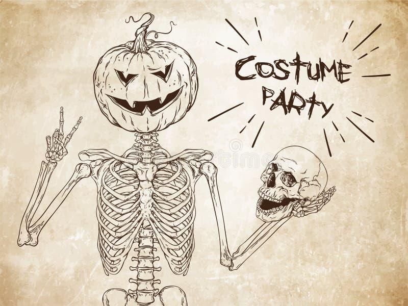Human skeleton with halloween pumpkin instead of head posing stock illustration