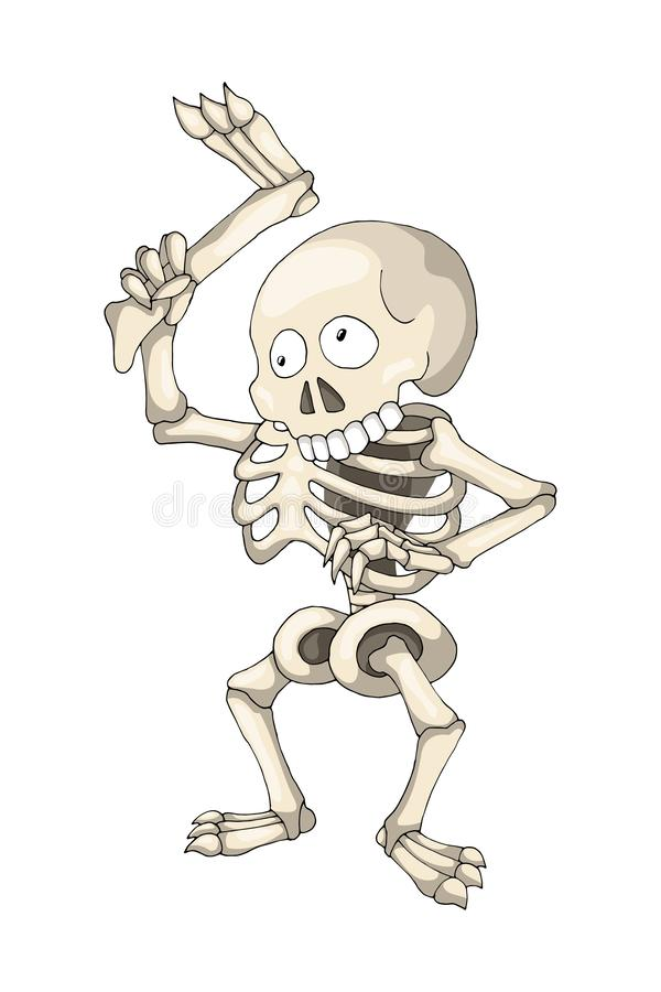 Human Skeleton Standing with Leg, cartoon Character vector illustration