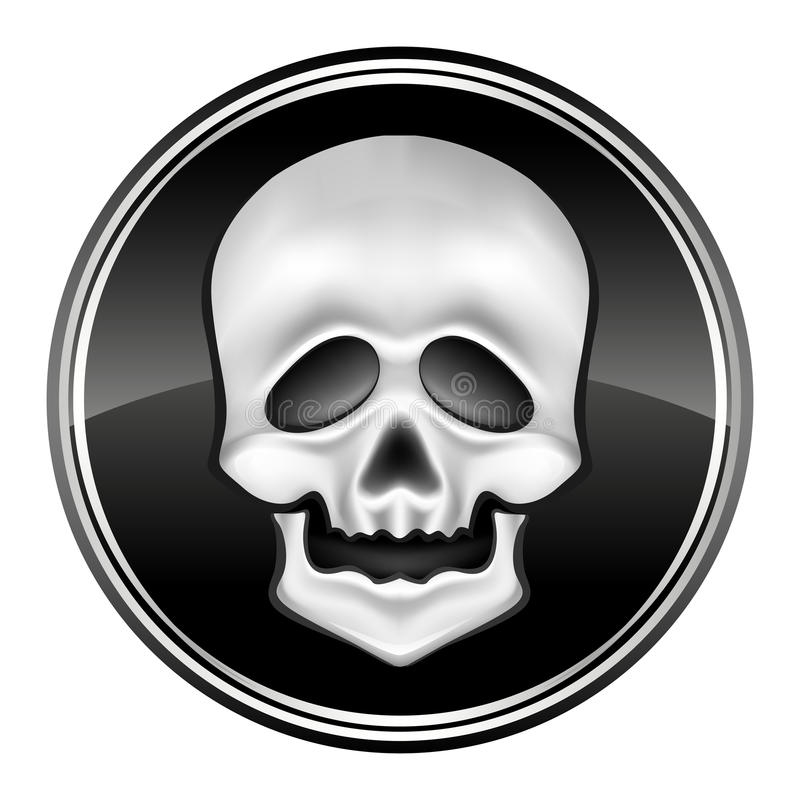 Download Human Skul Icon On The Black Circle Stock Illustration - Illustration of grayscale, evil: 10911572