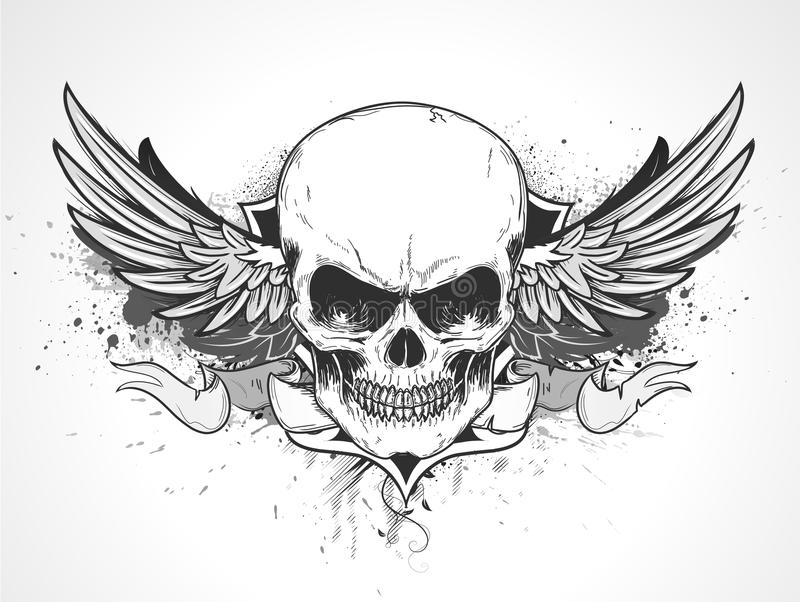 Human skull. Vector illustration of double winged human skull with banner and grunge background