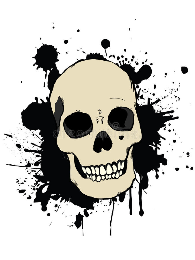 Human skull. With splash effect stock illustration