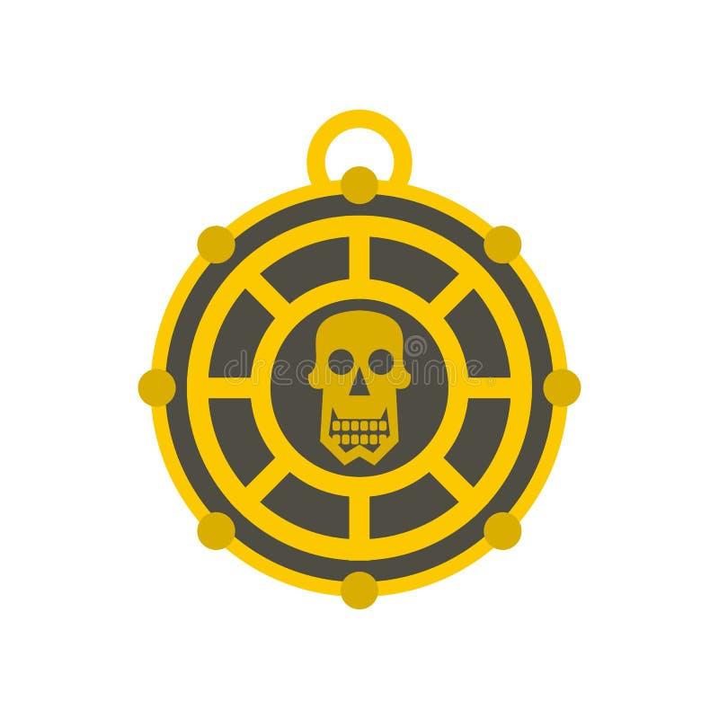 Human skull aztec medallion icon, flat style. Human skull aztec medallion icon in flat style on a white background vector illustration stock illustration