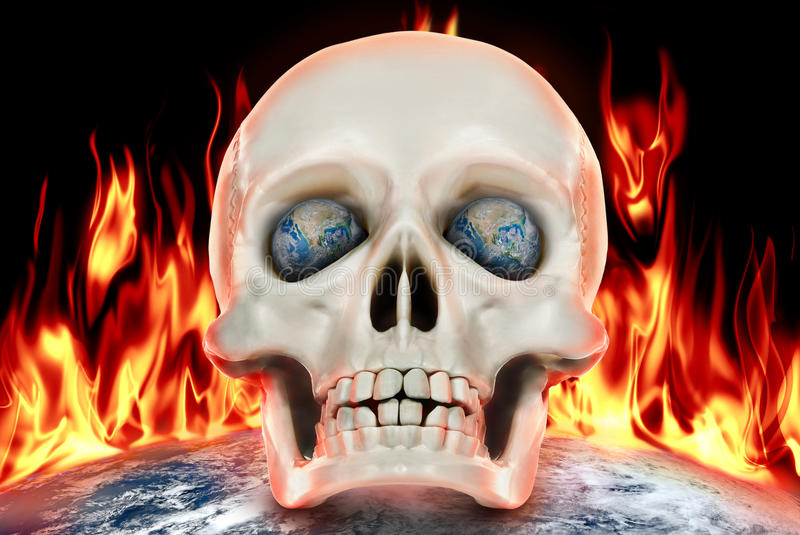 The human skull on a background of planet earth in fire royalty free illustration