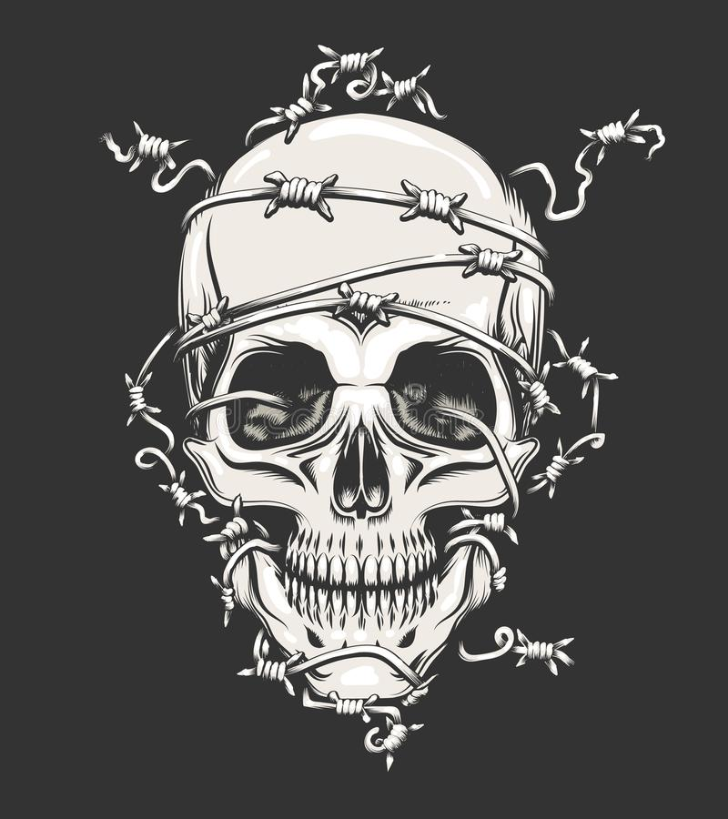 Human Skull in Barbed Wire. Drawn in tattoo style. Vector illustration vector illustration