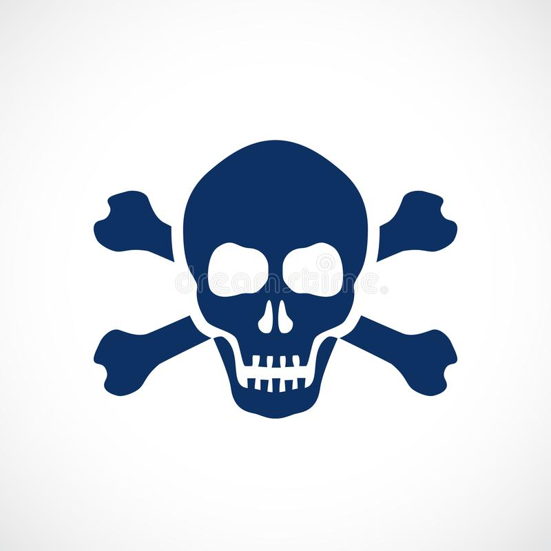 Human skull and bones danger symbol vector illustration