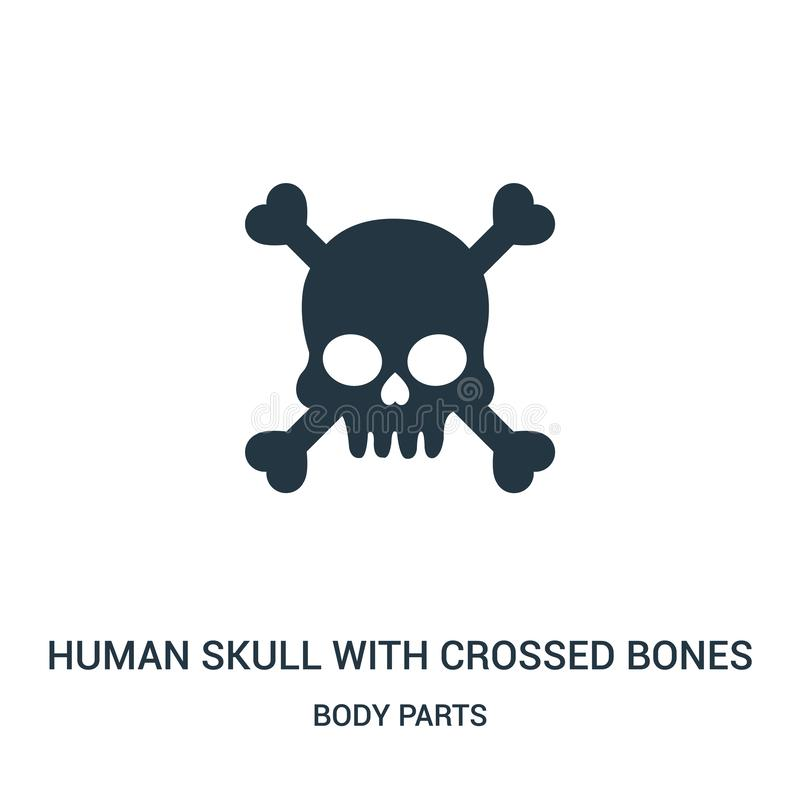 Human skull with crossed bones silhouette icon vector from body parts collection. Thin line human skull with crossed bones. Silhouette outline icon vector royalty free illustration