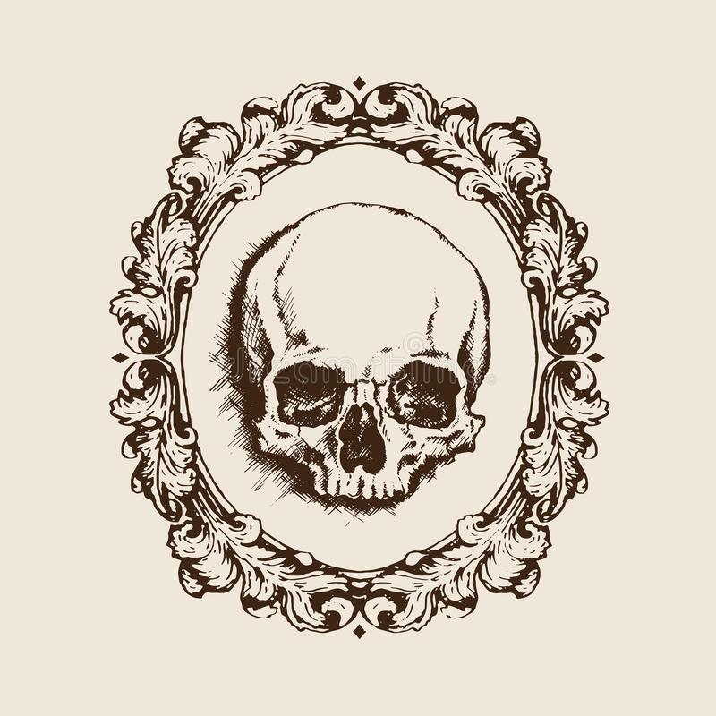 Human Skull In Filigree Frame. Vector Illustration Stock Vector ...