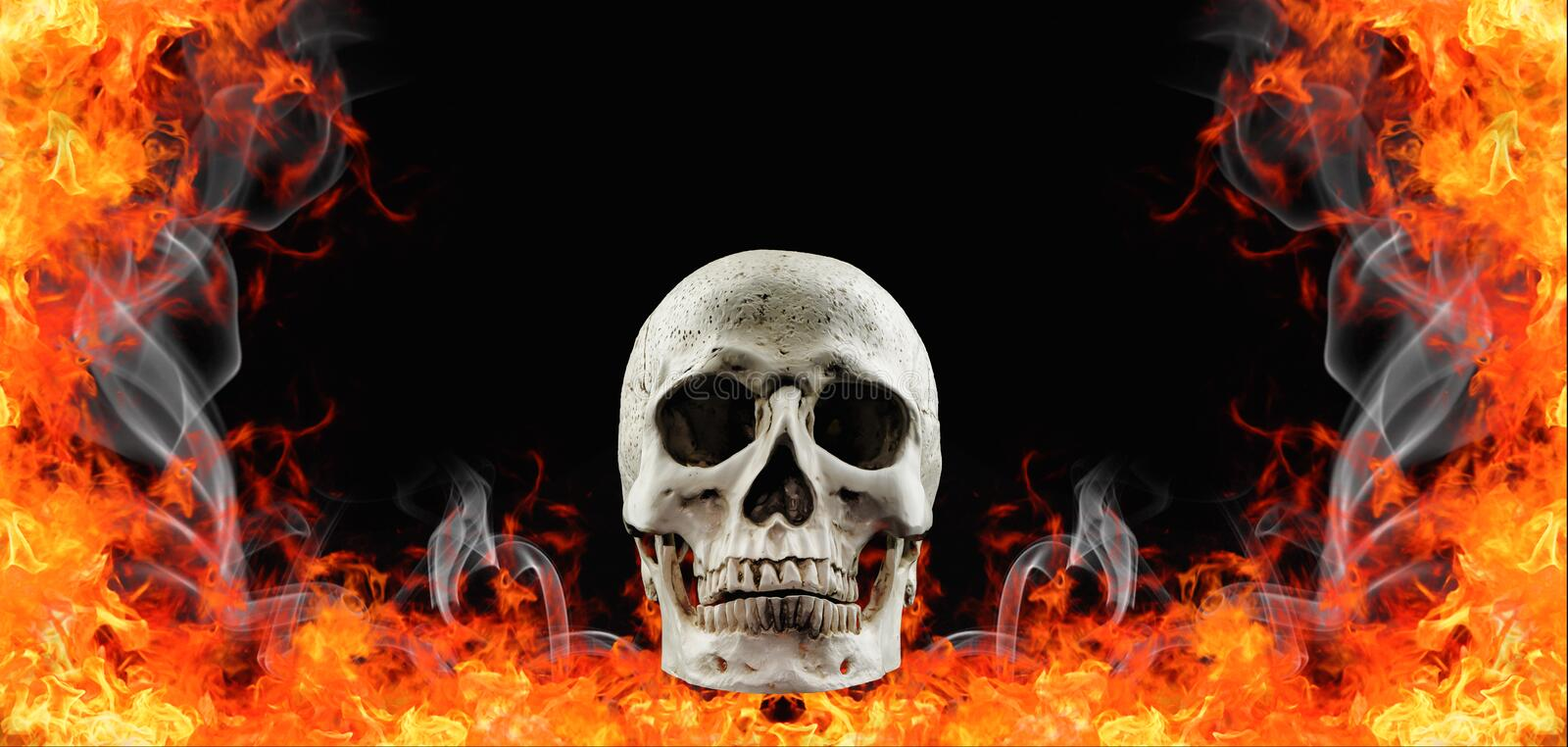 Human skull in fire flame.  stock images