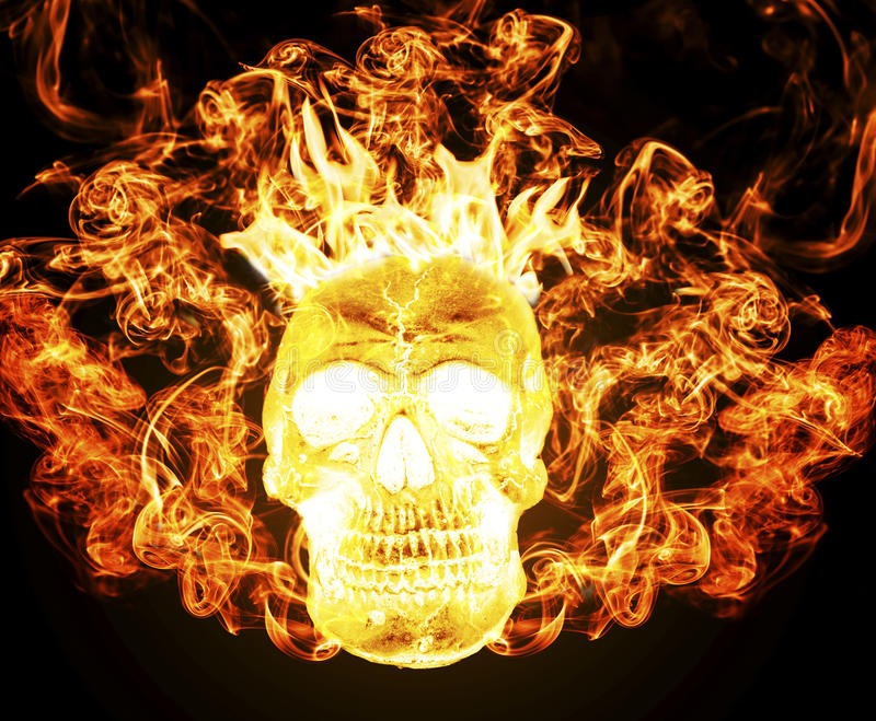 Human skull on fire from hell royalty free stock images