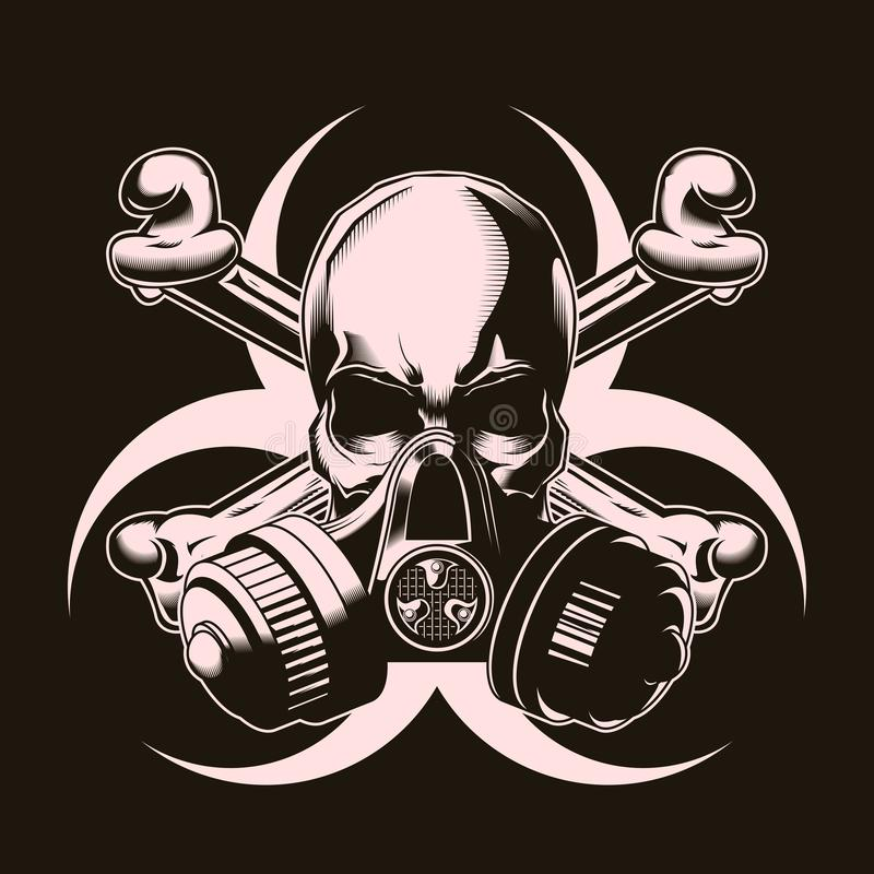 Human skull in gas mask with crossed bones and biohazard sign. Vector illustration. Print vector design. Premium quality superior skull concept. Shabby t-shirt royalty free illustration