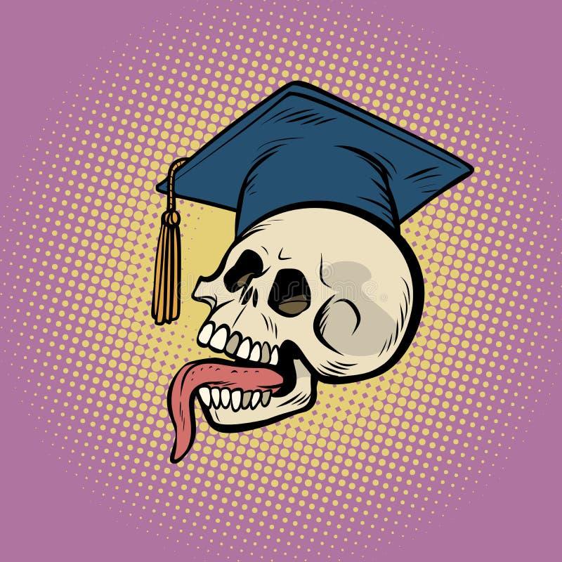 Human skull in a graduate hat royalty free illustration