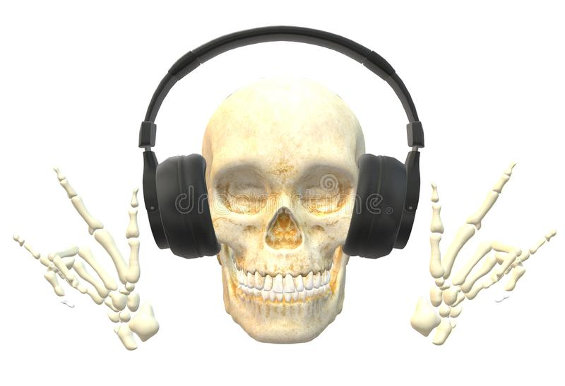 A human skull with head phones listening to music royalty free illustration