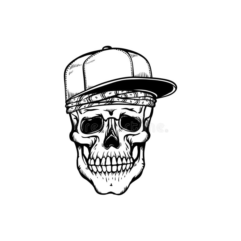 Human skull in hip-hop or rap style headwear - bandana and baseball cap in sketch style isolated on white background. royalty free illustration