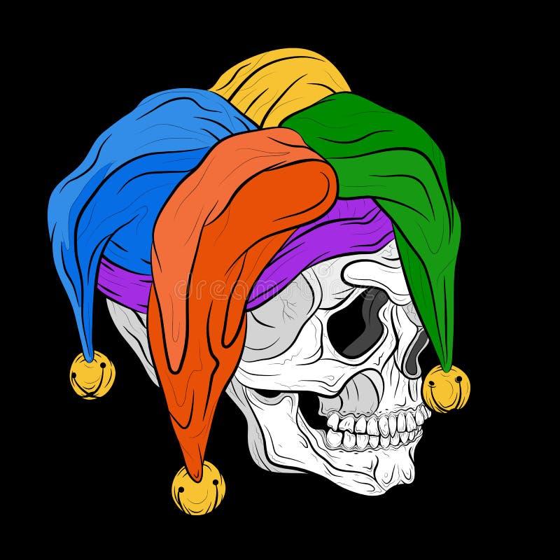 Human skull in jester cap vector illustration royalty free illustration