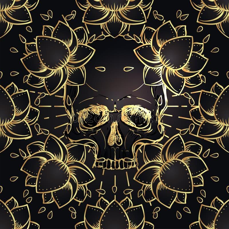 Human Skull and Lotus seamless pattern. Sacred Geometry. Ayurveda symbol of harmony and balance. Tattoo flesh design, yoga logo. vector illustration