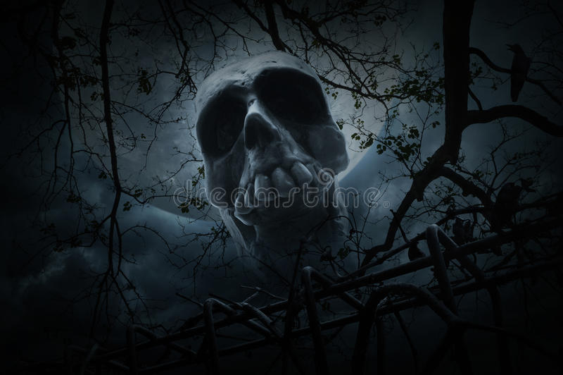 Human skull with old fence over dead tree, crow, moon and cloudy. Sky, Spooky background, Halloween concept stock photography