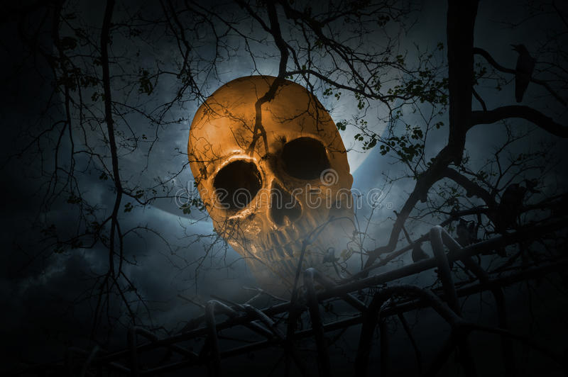 Human skull with old fence over smoke, dead tree and moon stock photo