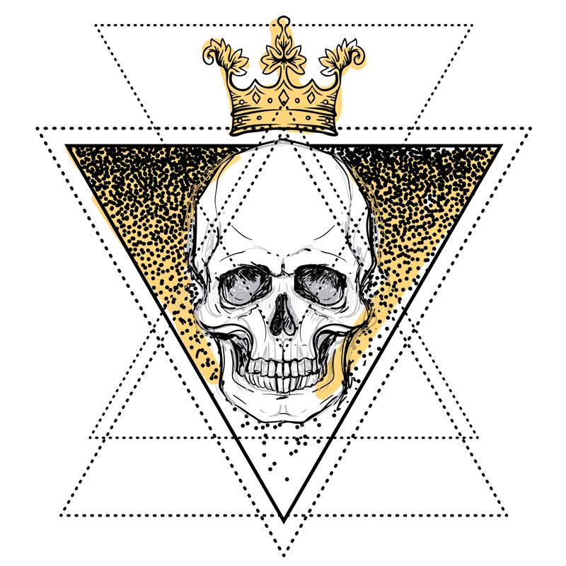 Human skull over sacred geometry symbol. Demon, fairy tale character. Mystical circle. Esoteric. Monochrome drawing isolated on w vector illustration