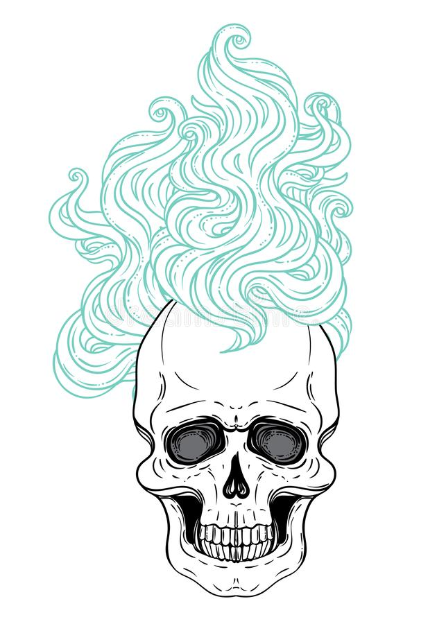 Human skull over sacred geometry symbol. Demon, fairy tale character. Mystical circle. Esoteric. Monochrome drawing isolated on w royalty free illustration