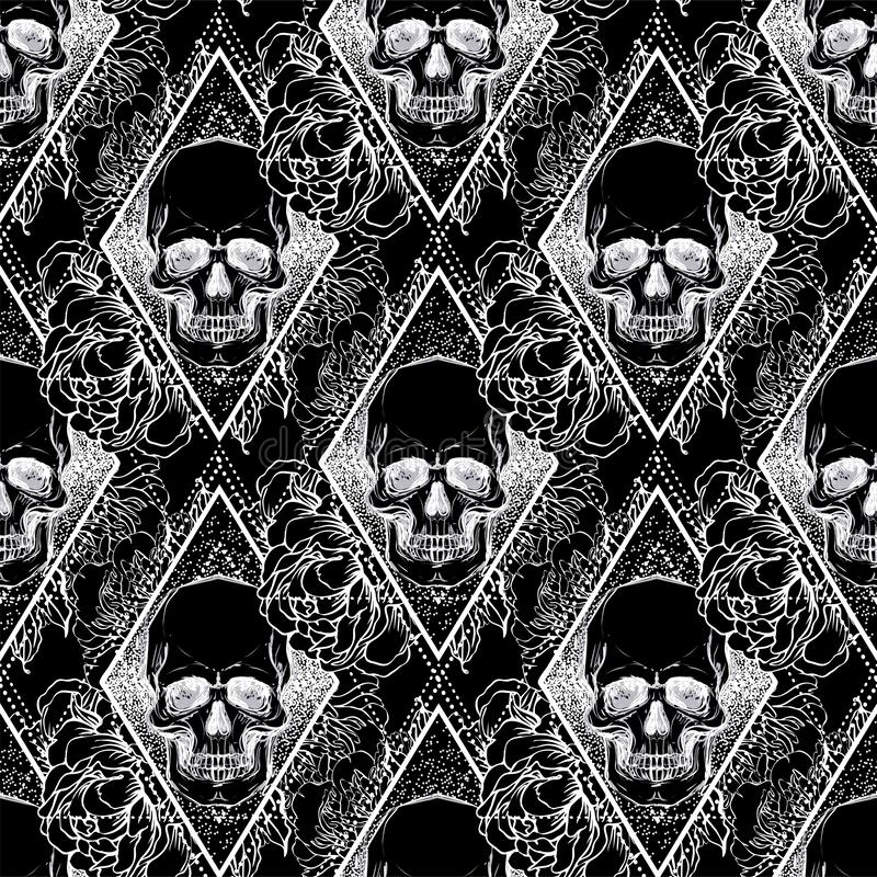 Human skull with peony, rose and poppy flowers over sacred geometry background. Seamless pattern. Tattoo design element. Vector i stock illustration
