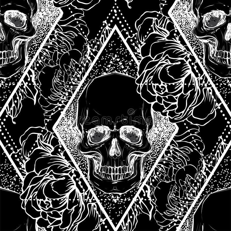 Human skull with peony, rose and poppy flowers over sacred geometry background. Seamless pattern. Tattoo design element. Vector i vector illustration