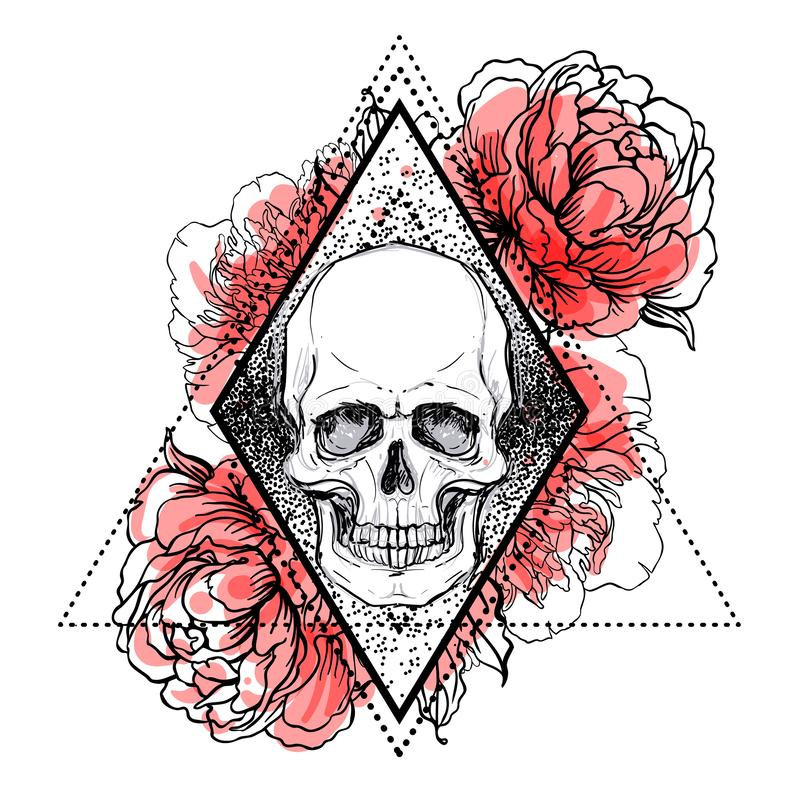 Human skull with peony, rose and poppy flowers over sacred geometry background. Vector illustration. stock illustration