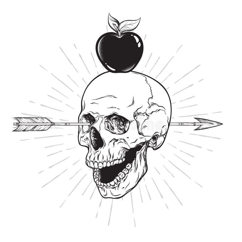 Human skull pierced with arrow line art and dot work. Boho sticker, print or blackwork flash tattoo art design hand drawn vector royalty free illustration
