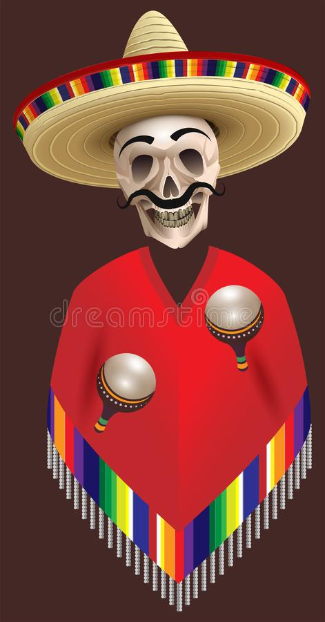 Human skull skeleton in sombrero and poncho hat holds two maracas. Cinco de Mayo mexican holiday vector illustration