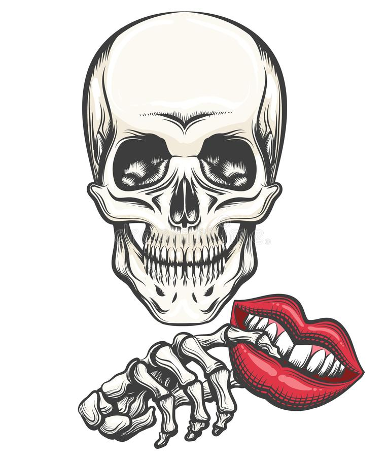 Death with Toy Lips in a hand royalty free illustration