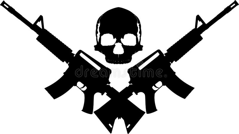 Skull two rifles royalty free stock photo