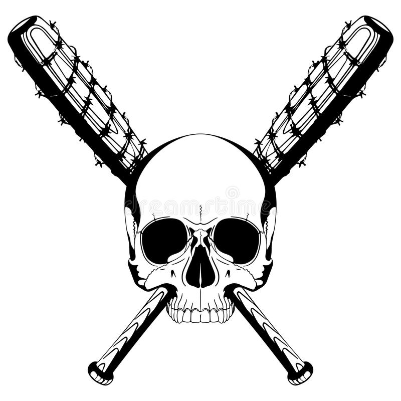 a human skull and two crossed baseball bats covered with barbed wire rh dreamstime com Baseball Bat Outline Baseball Bat Vector Logo