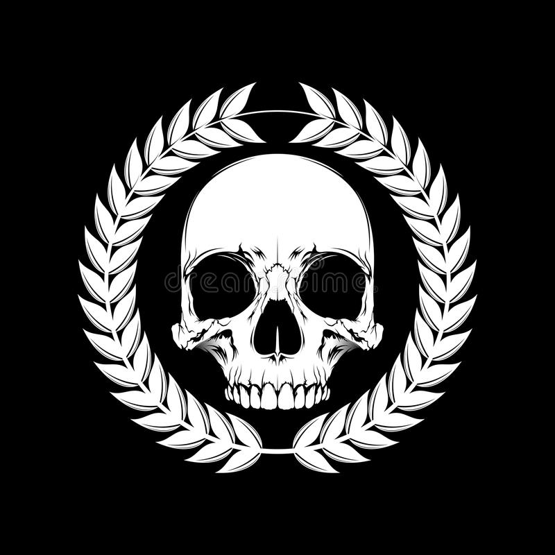 Human skull with wheat black and white vector illustration