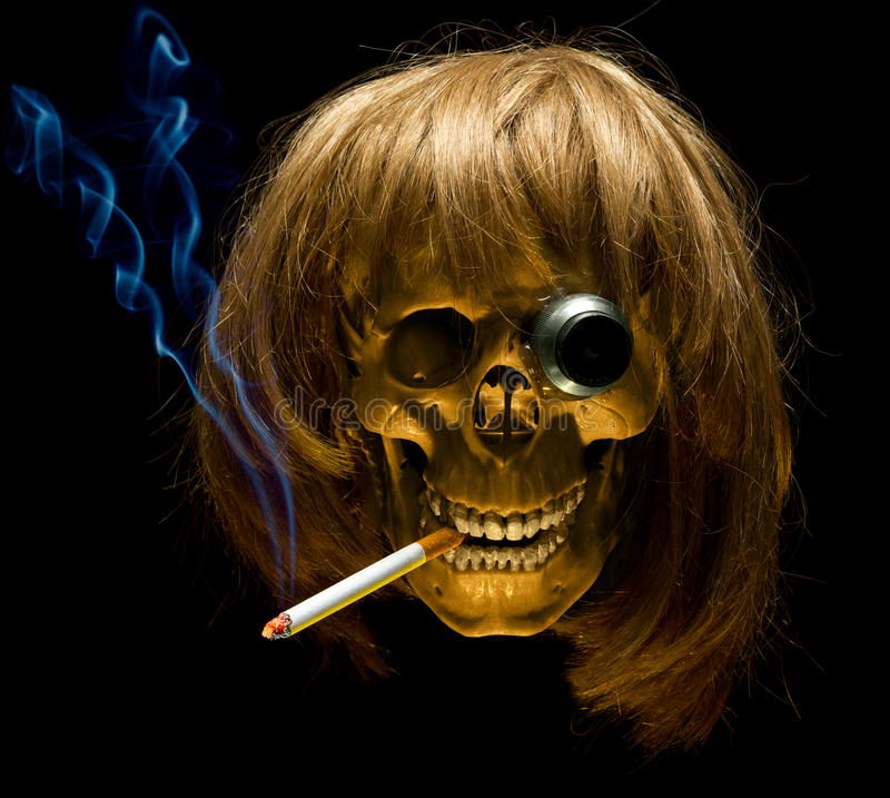 Download Human Skull In Wig With Monocle Smoking Cigarette Stock Photo - Image of cranium, hazardous: 27904600