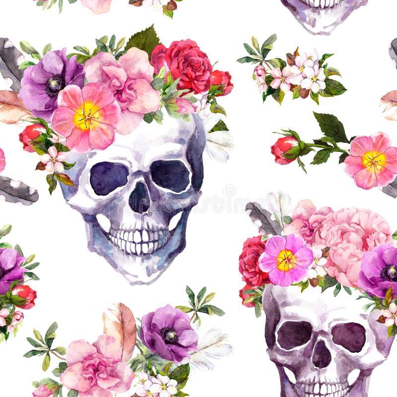Human skulls, flowers. Seamless pattern. Watercolor stock illustration