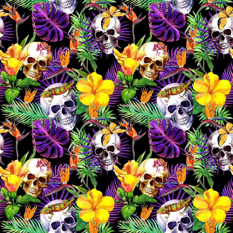Human skulls, tropical leaves, animals, exotic flowers. Repeating pattern at black background. Watercolor stock illustration